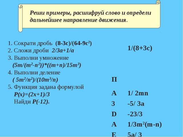 1. Сократи дробь (8-3c)/(64-9c2) 2. Сложи дроби 2/3a+1/a 3. Выполни умножение...