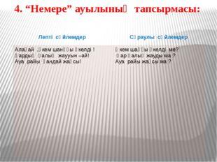 """4. """"Немере"""" ауылының тапсырмасы: Лептісөйлемдер Сұраулысөйлемдер Алақай ,әкем"""