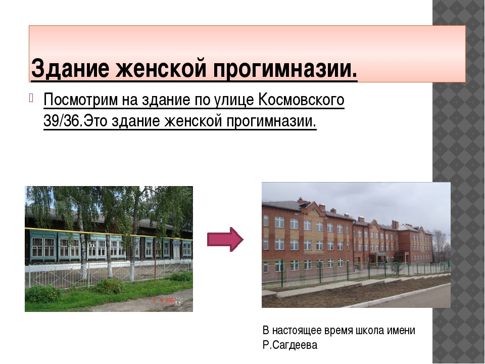 Здание женской прогимназии. Посмотрим на здание по улице Космовского 39/36.Эт...
