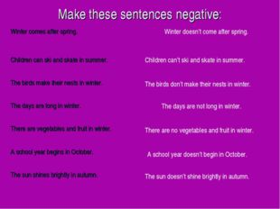 Make these sentences negative: Winter doesn't come after spring. Children can