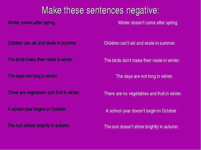 Make these sentences negative: Winter doesn't come after spring. Children can...