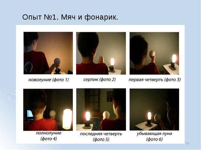 Опыт №1. Мяч и фонарик. *