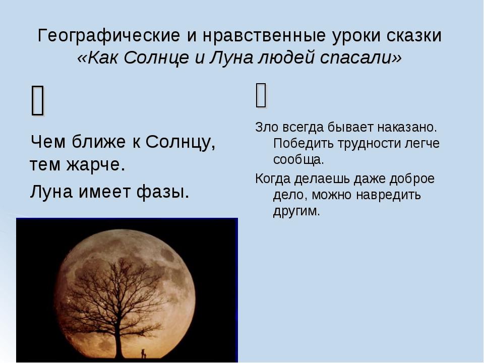 Географические и нравственные уроки сказки «Как Солнце и Луна людей спасали»...