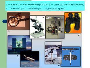 1 — лупа; 2 — световой микроскоп; 3 — электронный микроскоп; 4 — бинокль; 5 —