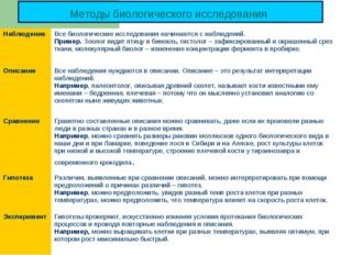 Методы биологического исследования Наблюдение Все биологические исследования