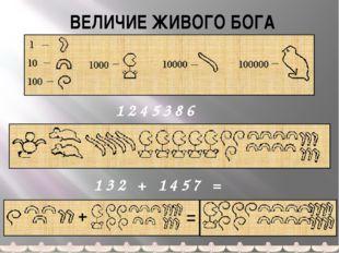 ВЕЛИЧИЕ ЖИВОГО БОГА 1245386 132 + 1457 = Запись ответа арабскими цифрами не п