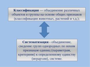 Классификация— объединение различных объектов в группы на основе общих призн