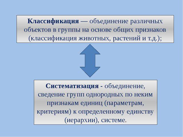 Классификация— объединение различных объектов в группы на основе общих призн...