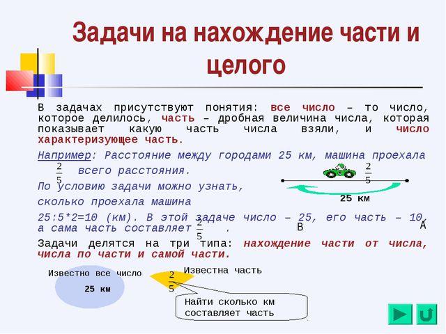Задачи на нахождение части и целого В задачах присутствуют понятия: все число...