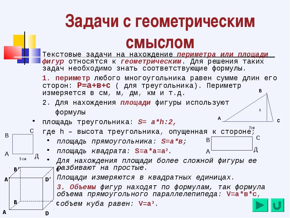 Задачи с геометрическим смыслом Текстовые задачи на нахождение периметра или...