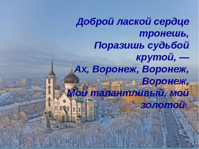 Доброй лаской сердце тронешь, Поразишь судьбой крутой, — Ах, Воронеж, Воронеж...