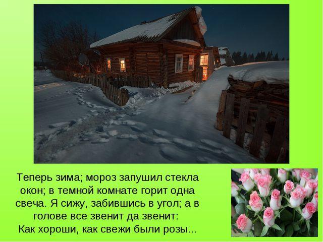 Теперь зима; мороз запушил стекла окон; в темной комнате горит одна свеча. Я...