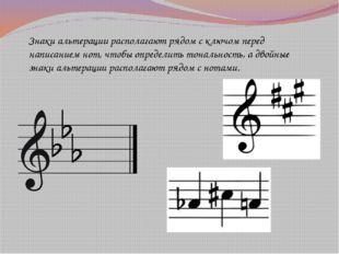 Знаки альтерации располагают рядом с ключом перед написанием нот, чтобы опред