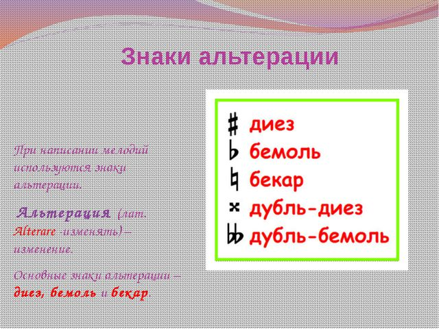Знаки альтерации При написании мелодий используются знаки альтерации. Альтера...