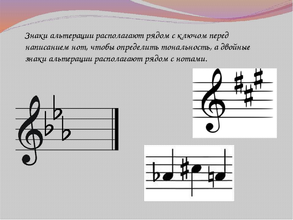 Знаки альтерации располагают рядом с ключом перед написанием нот, чтобы опред...