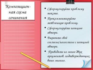 Композицион- ная схема сочинения Сформулируйте проблему текста. Прокомментиру