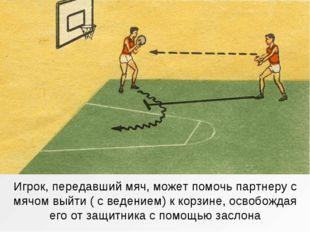 Игрок, передавший мяч, может помочь партнеру с мячом выйти ( с ведением) к ко