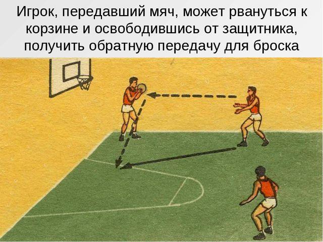 Игрок, передавший мяч, может рвануться к корзине и освободившись от защитника...