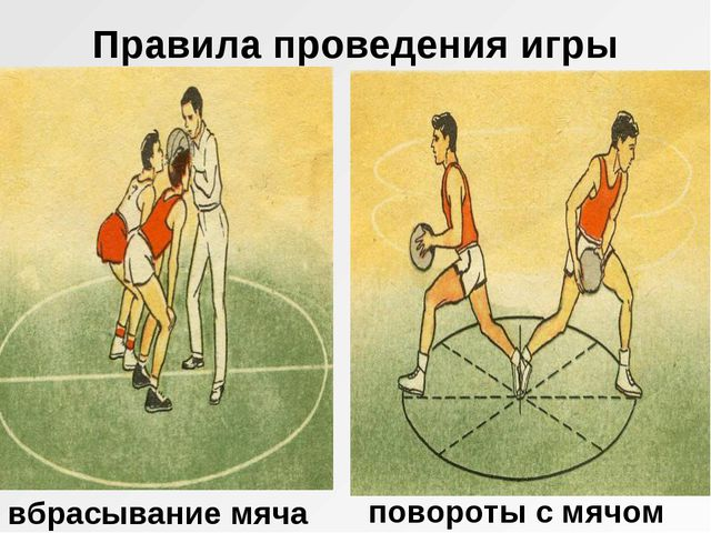 Правила проведения игры вбрасывание мяча повороты с мячом