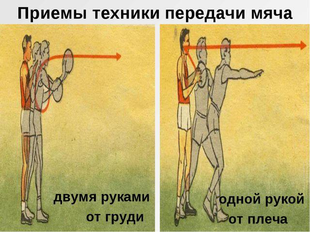 Приемы техники передачи мяча двумя руками от груди одной рукой от плеча