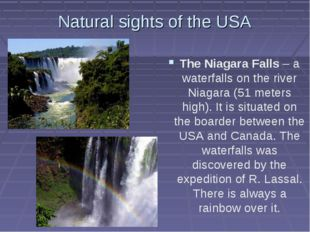 Natural sights of the USA The Niagara Falls – a waterfalls on the river Niaga