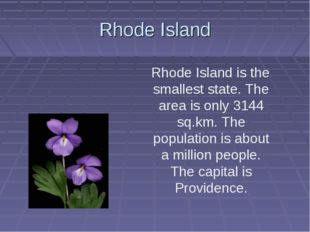 Rhode Island Rhode Island is the smallest state. The area is only 3144 sq.km.