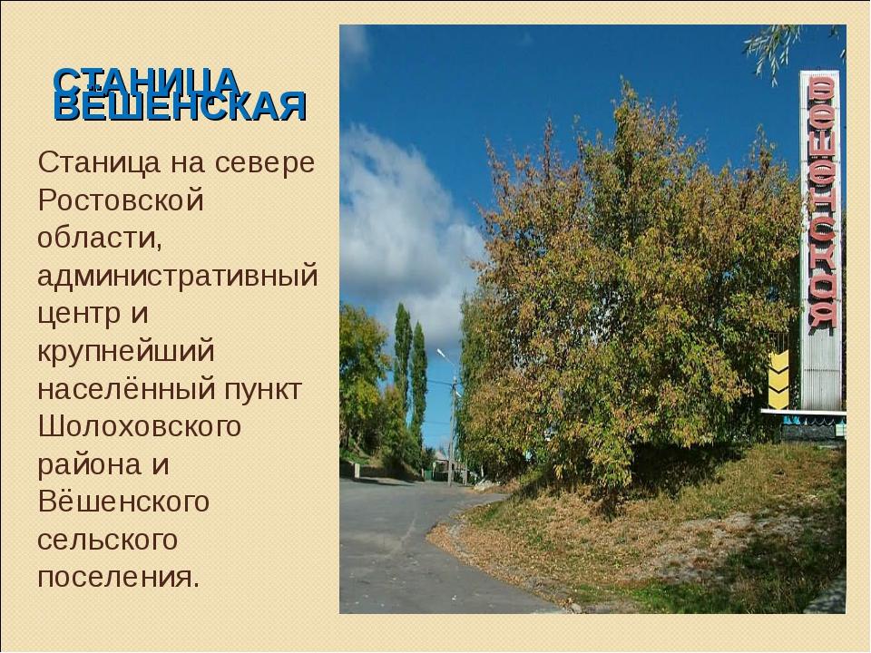 СТАНИЦА ВЁШЕНСКАЯ Станица на севере Ростовской области, административный цент...