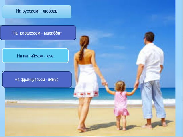 На русском – любовь На казахском - махаббат На английском - love На французс...
