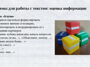 Приемы для работы с текстом: оценка информации Кубик «Блума» Учащиеся науча