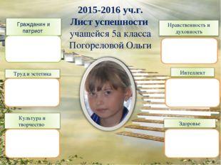 2015-2016 уч.г. Лист успешности учащейся 5а класса Погореловой Ольги