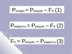 Pвоздух = Pвакуум – FA (1) Pжидкость = Pвакуум – FA (2) FA = Pвакуум – Pжидко