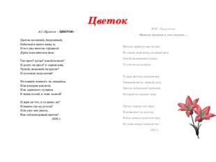 Цветок А.С.Пушкин « ЦВЕТОК» Цветок засохший, безуханный, Забытый в книге вижу