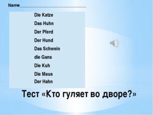 Тест «Кто гуляет во дворе?» Name____________________________  DieKatze  Das