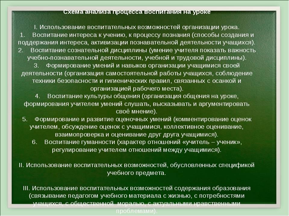 Схема анализа процесса воспитания на уроке I. Использование воспитательных во...