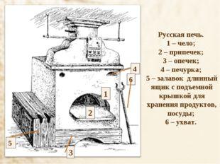 Русская печь. 1 – чело; 2 – припечек; 3 – опечек; 4 – печурка; 5 – залавок дл
