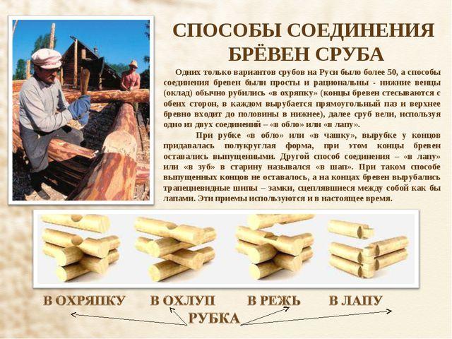 СПОСОБЫ СОЕДИНЕНИЯ БРЁВЕН СРУБА Одних только вариантов срубов на Руси было бо...