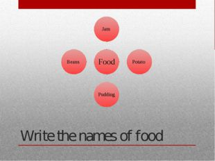 Write the names of food