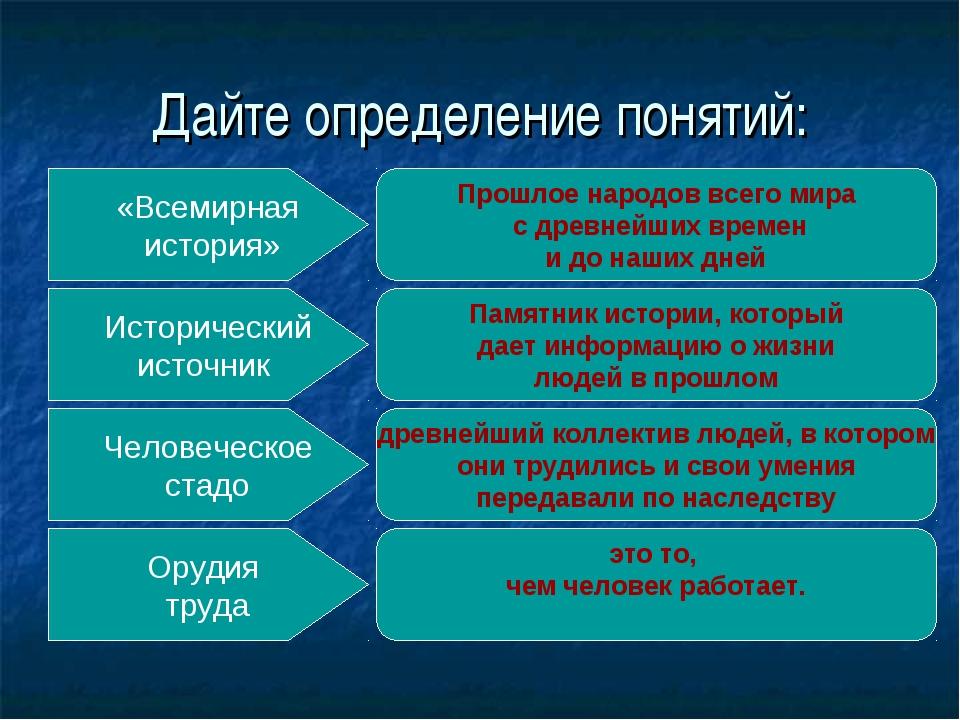 Дайте определение понятий: «Всемирная история» Исторический источник Человече...