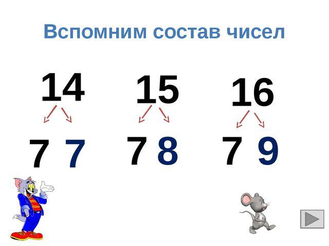 Вспомним состав чисел 14 15 16 7 7 7 8 7 9
