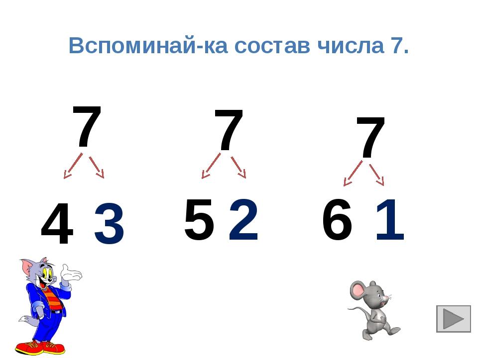 Вспоминай-ка состав числа 7. 7 7 7 4 3 5 2 6 1
