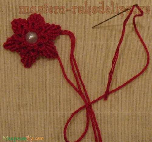 Мастер-класс: Макраме цветок с бусиной в серединке