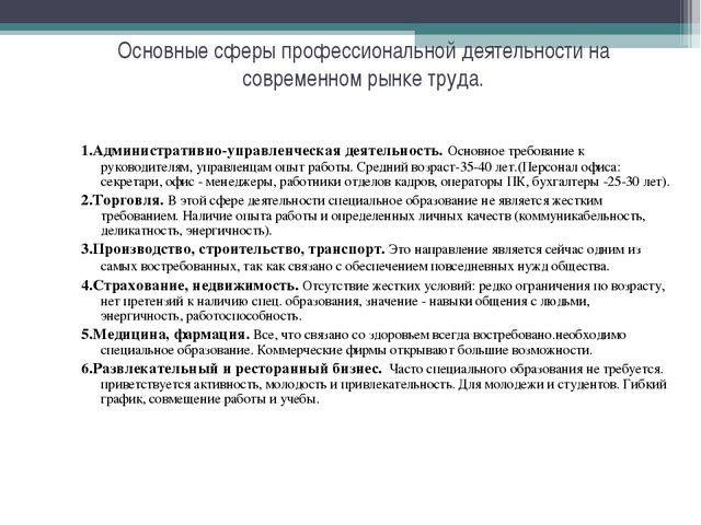 Основные сферы профессиональной деятельности на современном рынке труда. 1.Ад...