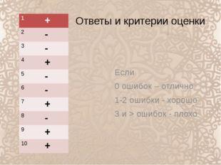 Ответы и критерии оценки Если 0 ошибок – отлично 1-2 ошибки - хорошо 3 и > ош