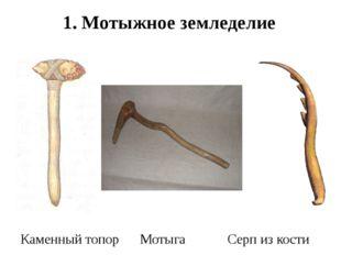 Каменный топор Мотыга Серп из кости 1. Мотыжное земледелие