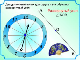 1 2 3 9 6 12 11 10 8 7 4 5 Два дополнительных друг другу луча образуют развер