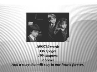 1090739 words 3363 pages 199 chapters 7 books And a story that will stay in o