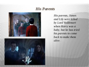 His Parents His parents, James and Lily were killed by Lord Voldemort when Ha