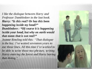 I like the dialogue between Harry and Professor Dumbledore in the last book.