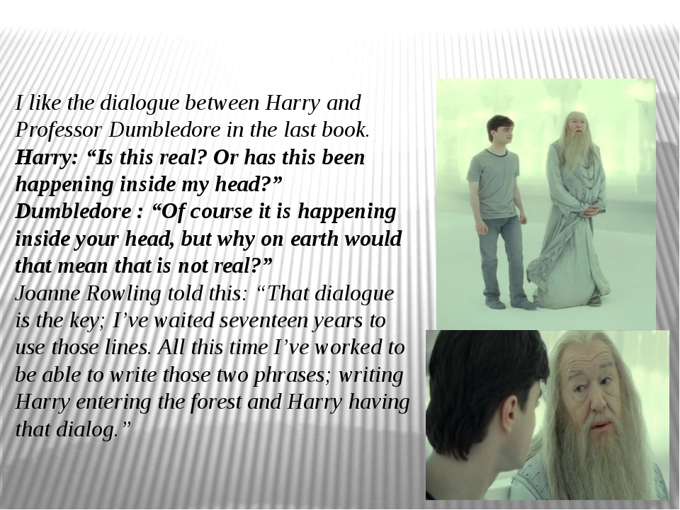I like the dialogue between Harry and Professor Dumbledore in the last book....