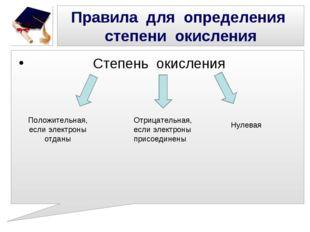 Степень окисления Правила для определения степени окисления Положительная, е